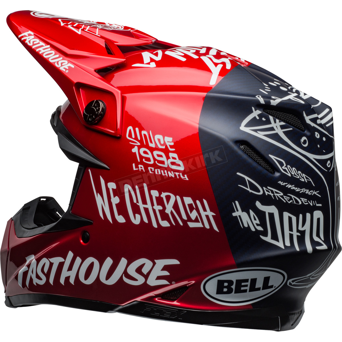 Bell Helmets Matte Navy Gloss Red White Moto-9 Fasthouse Day in the ... 793130de6