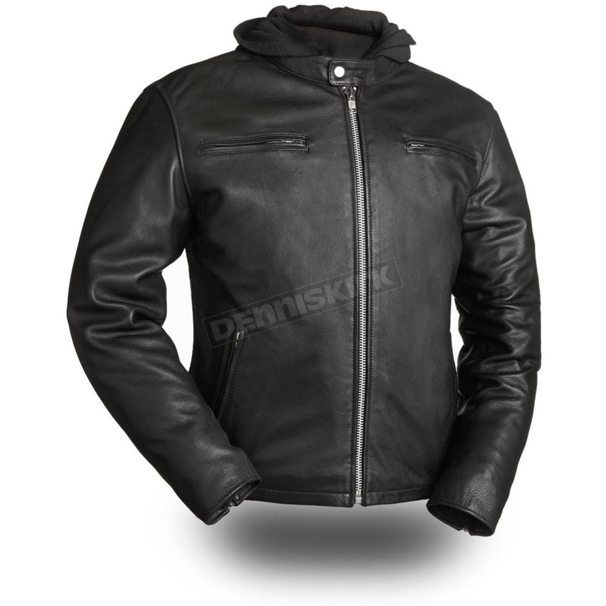First MFG Co Black, X-Large Mens Motorcycle Leather Jacket - Street Cruiser