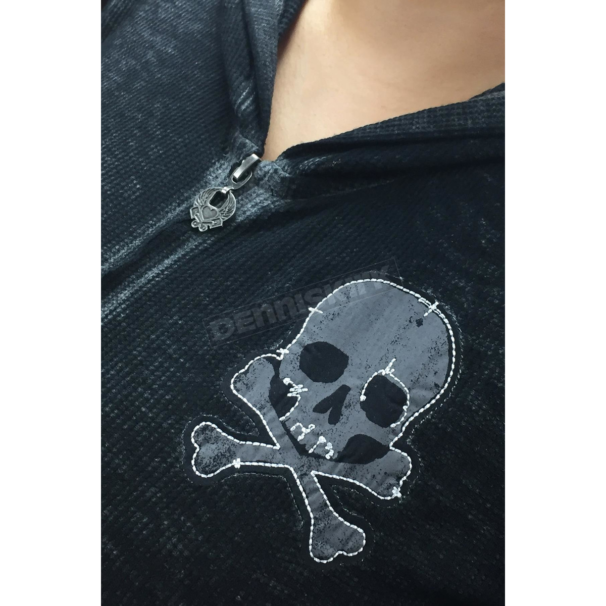 4f694510 Lethal Threat Women's Grunge Skull Patch Hoody - HD84015S