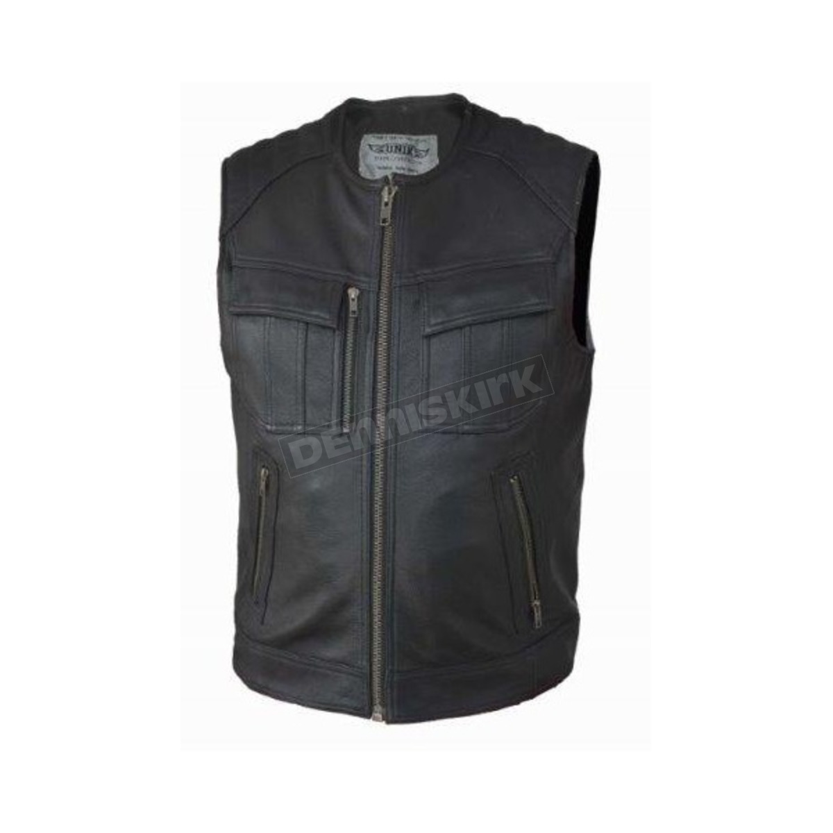 Unik International Mens Premium SOA Style Collarless Leather Club Vest XL