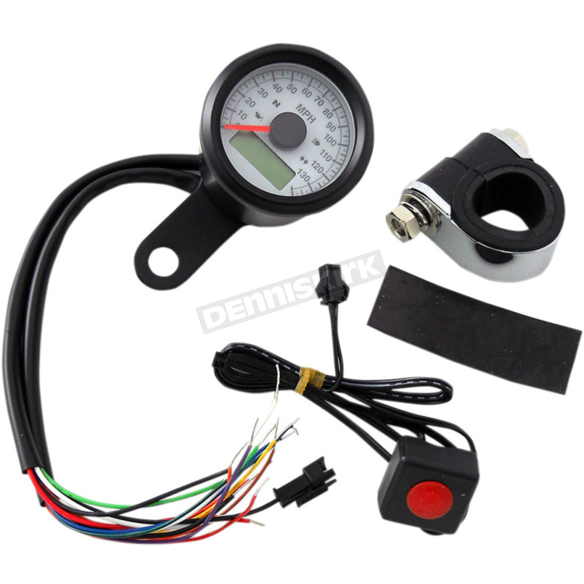 Drag Specialties 1 7 8 Black W White Face 130 Mph Programmable Wiring Harness