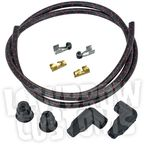 Black/Red Cloth 8mm Suppression Core Spark Plug Wire Set - 003676