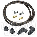Black/Orange Cloth 8mm Suppression Core Spark Plug Wire Set - 003678