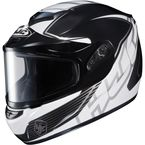 Black/White/Silver CS-R2SN MC-5 Injector Helmet with Framed Dual Lens Shield - 219-956