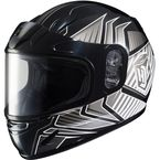 Youth Black/Silver/White CL-YSN MC-5 Redline Helmet with Framed Dual Lens Shield - 1119-1105-56