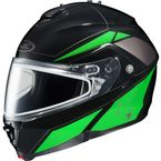 Black/Green/Silver IS-MAX 2 MC-4 Elemental Helmet w/Dual Lens Shield - 985-946