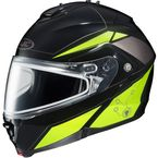 Black/Hi-Viz Neon Green/Silver IS-MAX 2 MC-3H Elemental Helmet w/Dual Lens Shield - 985-936