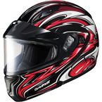Black/Red/White CL-MAXBTII SN MC-1 Atomic Helmet w/Framed Dual Lens Shield - 1145-1201-08