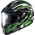 Black/Green/White CL-MAXBTII SN MC-4 Atomic Helmet w/Framed Dual Lens Shield - 1145-1204-04
