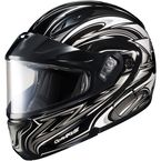 Black/Silver/White CL-MAXBTII SN MC-5 Atomic Helmet w/Framed Dual Lens Shield - 1145-1205-10
