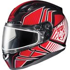Red/Black/White CL-17SN MC-1 Redline Helmet w/Frameless Dual Lens Shield - 1151-1101-05