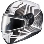 White/Gray/Silver CL-17SN MC-10 Redline Helmet w/Frameless Dual Lens Shield - 1151-1110-08