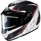 Black/White/Red CS-R2SN MC-1 Injector Helmet with Framed Electric Shield - 018-916