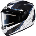 Black/White/Blue CS-R2SN MC-2 Injector Helmet with Framed Electric Shield - 018-923