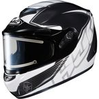 Black/White/Silver CS-R2SN MC-4 Injector Helmet with Framed Electric Shield - 018-952