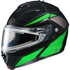 Black/Green/Silver IS-MAX 2 MC-4 Elemental Helmet w/Electric Shield - 58-23442