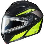 Black/Hi-Viz Neon Green/Silver IS-MAX 2 MC-3H Elemental Helmet w/Electric Shield - 185-936