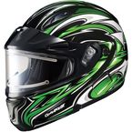 Black/Green/White CL-MAXBTII SN MC-4 Atomic Helmet w/Framed Electric Shield - 1245-1204-08