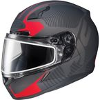 Matte Black/Red CL-17SN MC-1F Misson Helmet w/Frameless Dual Lens Shield - 833-814
