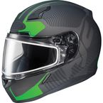 Matte Black/Green CL-17SN MC-4F Misson Helmet w/Frameless Dual Lens Shield - 833-846