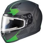 Matte Black/Green CL-17SN MC-4F Misson Helmet w/Frameless Electric Shield - 133-844