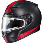 Matte Black/Red CL-17SN Streamline MC-1F Snowmobile Helmet w/Electric Shield - 139-816
