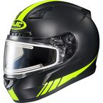 Matte Black/Hi-Viz Neon Green CL-17SN Streamline MC-3HF Snowmobile Helmet w/Electric Shield - 139-836