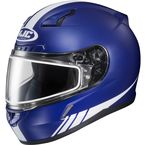Matte Blue/White CL-17SN Streamline MC-2F Snowmobile Helmet w/Dual Lens Shield - 57-19522