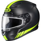 Matte Black/Hi-Viz Neon Green CL-17SN Streamline MC-3HF Snowmobile Helmet w/Dual Lens Shield - 57-19532