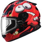 Youth Black/Red/White GM49Y Slimed Snowmobile Helmet with Dual Lens Shield - 72-5971YM
