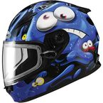 Youth Black/Blue/White GM49Y Slimed Snowmobile Helmet with Dual Lens Shield - 72-5972YL