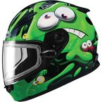Youth Black/Green/White GM49Y Slimed Snowmobile Helmet with Dual Lens Shield - 72-5974YM