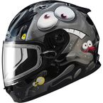 Youth Black/Silver/White GM49Y Slimed Snowmobile Helmet with Dual Lens Shield - 72-5976YM