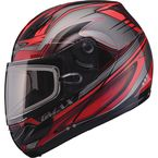 Red/Silver/Black GM44S Semcoe Modular Snowmobile Helmet with Dual Lens Shield - 72-6071L