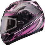 Black/Pink/Silver GM44S Semcoe Modular Snowmobile Helmet with Dual Lens Shield - 72-6079S