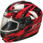 Black/Red/Silver GM54S Modular Snowmobile Helmet with Dual Lens Shield - 72-6241M
