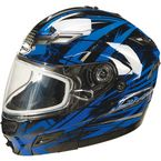 Black/Blue/Silver GM54S Modular Snowmobile Helmet with Dual Lens Shield - 72-6242M