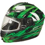 Black/Green/Silver GM54S Modular Snowmobile Helmet with Dual Lens Shield - 72-6244L