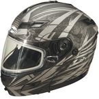 Matte Black/Silver GM54S Modular Snowmobile Helmet with Dual Lens Shield - 72-6246M