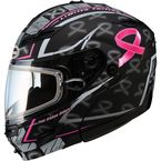 Matte Black/Pink/Silver GM54S Modular Pink Ribbon LE Snowmobile Helmet with Dual Lens Shield - 72-6248L