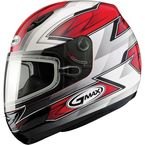 Red/White/Silver/Black GM48S Razor Snowmobile Helmet with Dual Lens Shield - 72-6251L