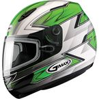 Green/White/Silver/Black GM48S Razor Snowmobile Helmet with Dual Lens Shield - 72-6254M