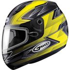 Yellow/Black/Silver GM48S Razor Snowmobile Helmet with Dual Lens Shield - 72-6255L