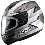 Matte Silver/White/Black GM48S Razor Snowmobile Helmet with Dual Lens Shield - 72-6256L