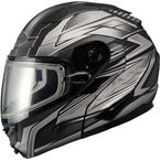 Matte Black/Dark Silver GM64S Carbide Modular Snowmobile Helmet with Dual Lens Shield - 72-6266L