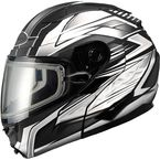 Matte Black/White/Silver GM64S Carbide Modular Snowmobile Helmet with Dual Lens Shield - 72-6267L