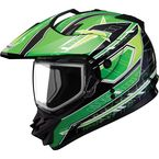 Black/Green/White GM11S Nova Snow Sport Snowmobile Helmet with Dual Lens Shield - 72-7114L