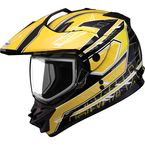 Black/Yellow/White GM11S Nova Snow Sport Snowmobile Helmet with Dual Lens Shield - 72-7115L