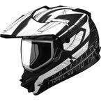 Matte Black/White/Dark Silver GM11S Nova Snow Sport Snowmobile Helmet with Dual Lens Shield - 72-7116M