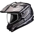 Matte Black/Silver/White GM11S Nova Snow Sport Snowmobile Helmet with Dual Lens Shield - 72-7117L